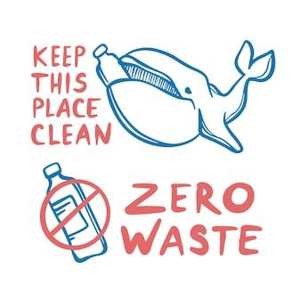 Zero odpadów i wieloryb ekologiczne zanieczyszczenie środowiska problem plastikowej butelki ziemi z tekstem pisma ręcznego. ręcznie rysowane clip art zestaw ilustracji
