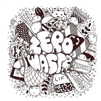 Zero odpadów napis doodle styl ilustracji wektorowych.