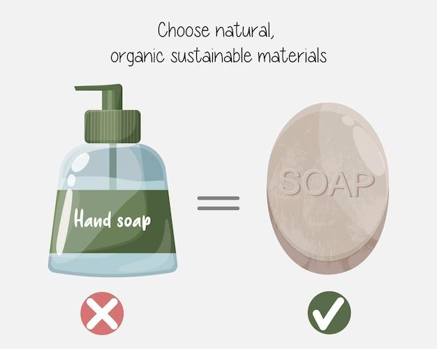 Zero odpadów, ochrona środowiska, dobór naturalnych materiałów przyjaznych dla środowiska. ręcznie robione mydło w kostce