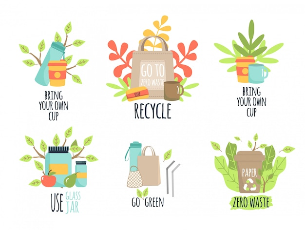 Zero odpadów recyklingu ekologia ilustracja ochrony.