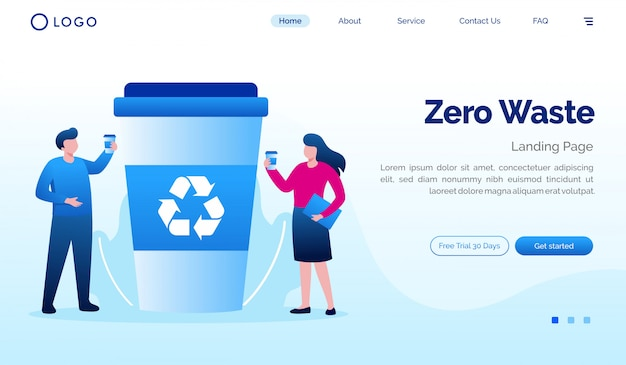 Zero odpadów strona docelowa płaski szablon strony internetowej