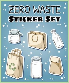 Zero odpadów zestaw naklejek.