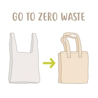 Zero reguł odpadów. opakowanie jednorazowe vs. bawełniana torba wielokrotnego użytku