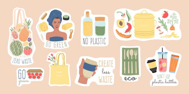 Zero waste duże naklejki z ilustracjami elementów recyklingu i przyjaznych dla środowiska