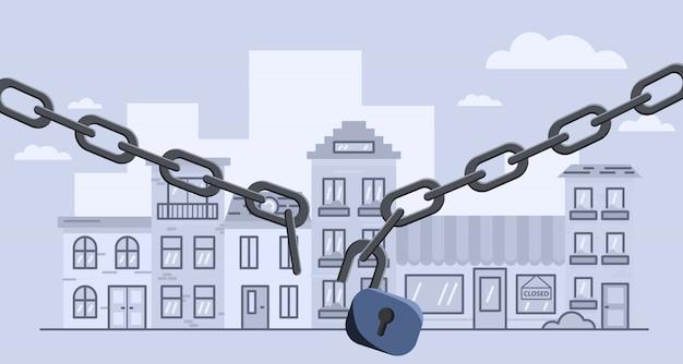 Zerwana bariera blokująca łańcuch nad miastem. akcyjna ilustracja otwarty lockdown.