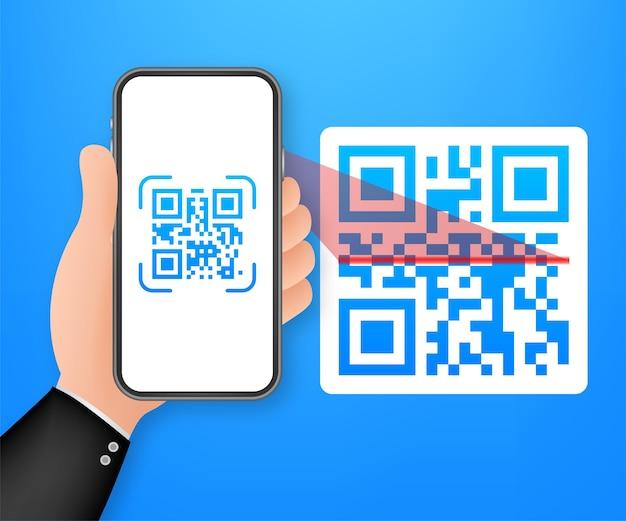 Zeskanuj kod qr do telefonu komórkowego. technologia elektroniczna, cyfrowa, kod kreskowy. czas ilustracja wektorowa.