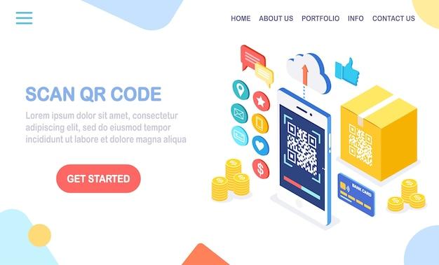 Zeskanuj kod qr na telefon. mobilny czytnik kodów kreskowych, skaner z kartonowym pudełkiem, chmura, karta kredytowa, pieniądze. elektroniczna płatność cyfrowa za pomocą smartfona. urządzenie izometryczne.