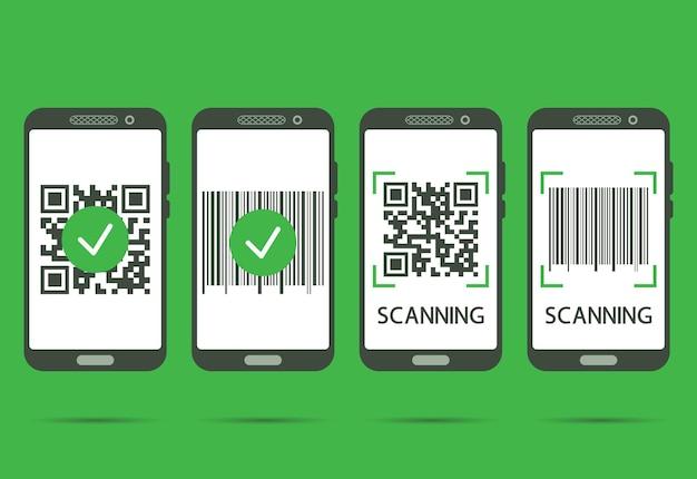 Zeskanuj kod qr telefonem komórkowym. skanowanie kodów qr zakończone. kod kreskowy do odczytu maszynowego na ekranie smartfona. koncepcja weryfikacji lub płatności. ilustracja wektorowa na zielonym tle