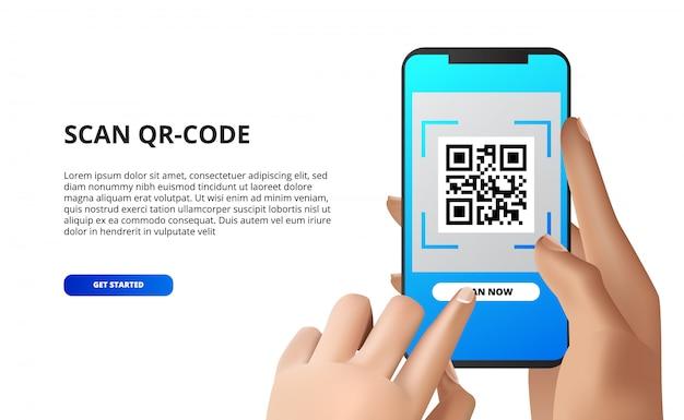 Zeskanuj kod qr z telefonu komórkowego. ręka trzyma smartfona z przyciskiem dotykowym. w przypadku płatności mobilnych pobierz aplikację,