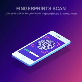 Zeskanuj odcisk palca do telefonu komórkowego. system bezpieczeństwa identyfikatora smartfona. izometryczny telefon komórkowy