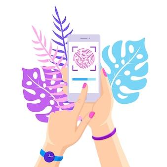 Zeskanuj odcisk palca do telefonu komórkowego. system bezpieczeństwa identyfikatora smartfona. koncepcja podpisu cyfrowego. technologia identyfikacji biometrycznej, dostęp osobisty. płaska konstrukcja