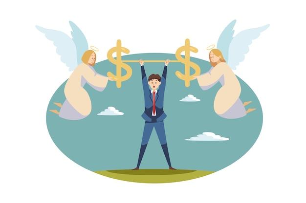 Zespół aniołów biblijnych znaków trzymając razem znaki dolara nad szczęśliwy młody biznesmen.