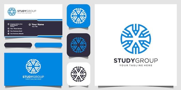 Zespół badawczy logo projektuje szablon. ołówek w połączeniu ze znakiem koła
