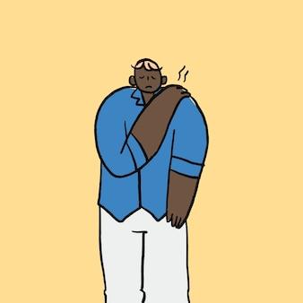 Zespół biurowy doodle wektor, ręka narysowana postać bólu ramienia