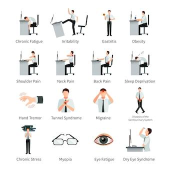 Zespół biurowy płaski zestaw znaków z pracownikami na biurku i napisy o negatywnym wpływie pracy siedzącej na białym tle ilustracji wektorowych