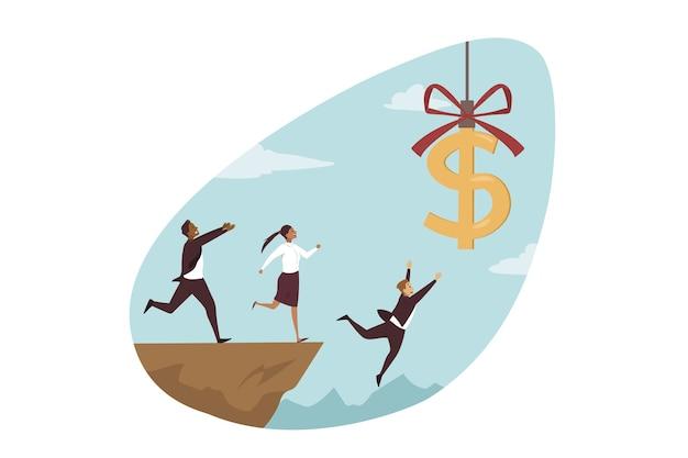 Zespół biznesmenów kobieta urzędników menedżerów postaci z kreskówek biegających w pogoni za latającym znakiem dolara spadającym w szczelinę ze wzgórza.