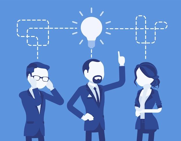 Zespół biznesowy burzy mózgów. dyskusja w grupie mężczyzn i kobiet w celu tworzenia pomysłów, rozwiązywania problemów biurowych, spotkania firm w celu rozwiązania techniki kreatywności. ilustracja wektorowa z postaciami bez twarzy