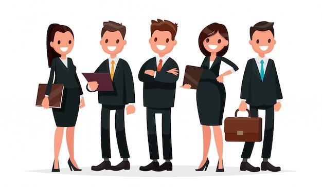 Zespół biznesowy. grupa ludzi ubranych w garnitury. ilustracja wektorowa w stylu płaski