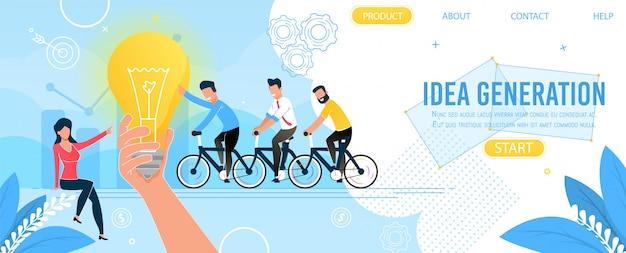 Zespół biznesowy i strona docelowa generowania pomysłów