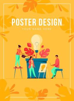 Zespół biznesowy omawiający nowe pomysły i szablon plakatu innowacji