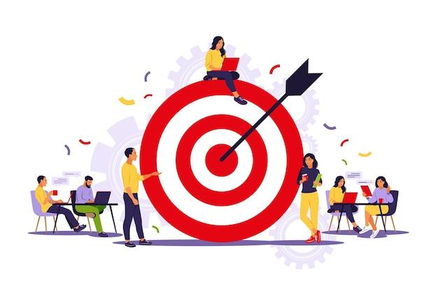 Zespół biznesowy osiągający cel. koncepcja strategii marketingowej.