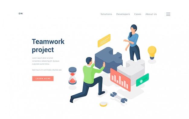 Zespół biznesowy pracujący nad projektem razem ilustracja