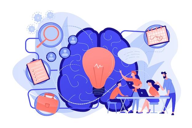 Zespół biznesowy pracujący nad projektem. zarządzanie projektami, analiza i planowanie biznesowe, burza mózgów i badania, koncepcja doradztwa i motywacji. ilustracja wektorowa na białym tle.