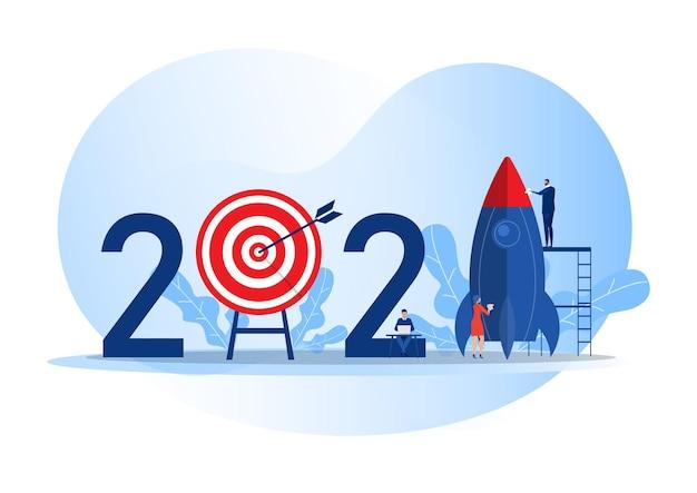 Zespół biznesowy przygotowuje start rakiety, rozpoczyna biznes cel 2021 rok ilustrator wektorów koncepcji