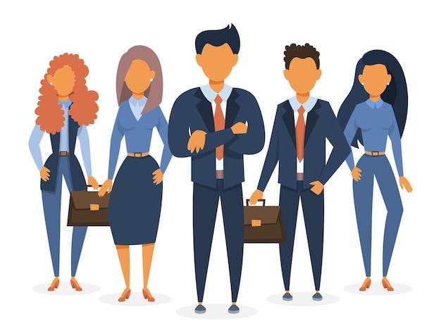 Zespół biznesowy stojący w garniturze. grupa
