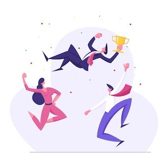 Zespół biznesowy świętuje sukces. biznesmen z ilustracji zwycięzca pucharu