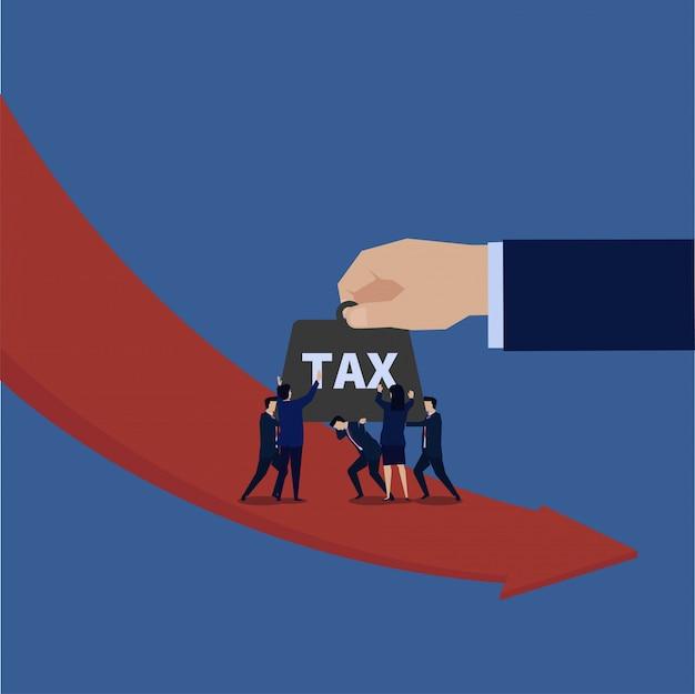 Zespół biznesowy trzyma ciężki podatek, gdy zysk spada.