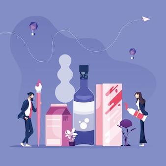 Zespół biznesowy tworzący koncepcję projektowania opakowań i opakowań