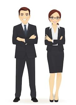 Zespół biznesowy. wesoły biznesowy mężczyzna i kobieta z rękami skrzyżowanymi na białym tle.