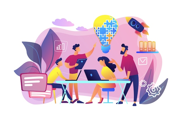 Zespół biznesowy wymyśla pomysł i żarówkę z układanki. praca zespołowa, współpraca przedsiębiorstw, koncepcja wzajemnej pomocy kolegów. jasny żywy fiolet na białym tle ilustracja