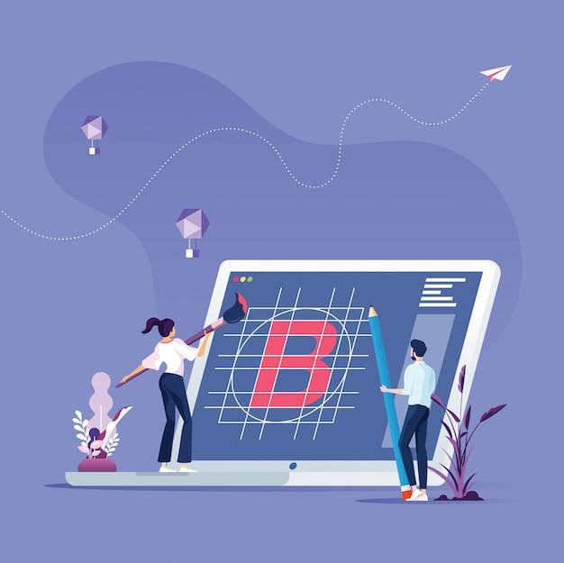 Zespół biznesu tworzy koncepcję budowania marki