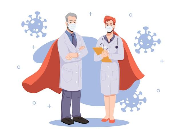 Zespół bohaterskich i odważnych lekarzy walczących z koronawirusem. mężczyzna i kobieta w mundurach