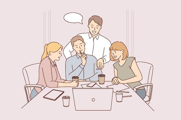 Zespół, burza mózgów, koncepcja współpracy.