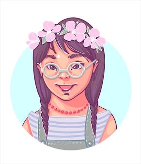 Zespół downa. kolorowy portret dziewczynki z zespołem downa, uroczej dziewczyny w okularach