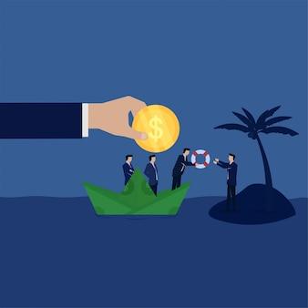 Zespół firmy dać koło ratunkowe do biznesmena na wyspie metafora upadłości