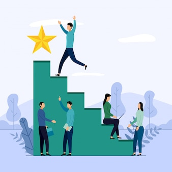 Zespół firmy i konkurencji, osiągnięcia, sukces, wyzwanie, biznes ilustracja