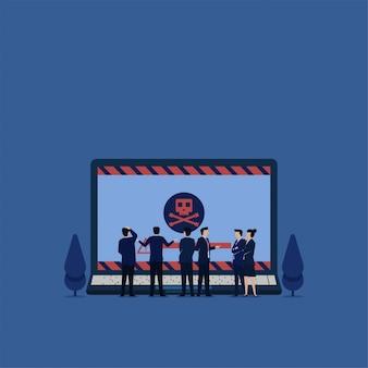 Zespół firmy płaskie wektor koncepcja mylić, aby zobaczyć laptopa z wirusową metaforą ransomware.
