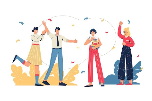 Zespół gratuluje koledze koncepcji internetowej. pracownicy gratulują kobiecie urodzin i wręczają prezenty. wakacje korporacyjne, rozwój kariery minimalna scena ludzi. ilustracja wektorowa w płaskiej konstrukcji na stronie internetowej