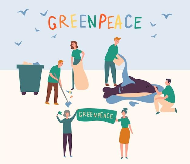Zespół greenpeace sprzątanie ziemi, ratowanie zwierząt. grupa wolontariuszy zapobiega globalnym zanieczyszczeniom świata i wlewa delfiny do wody