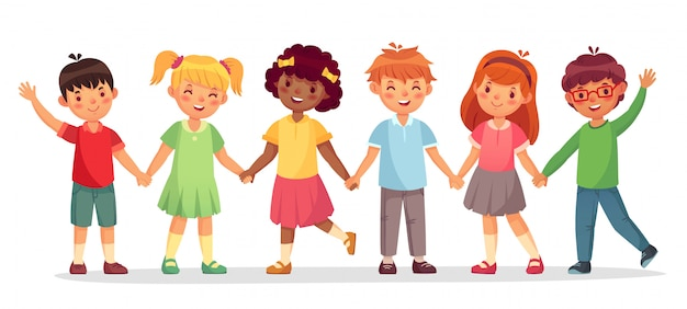 Zespół happy kids. wielonarodowe dzieci, uczennice i chłopcy stoją razem trzymając ręce na białym tle ilustracji