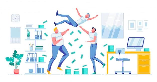 Zespół happy workers świętuje sukces finansowy