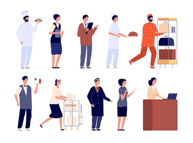 Zespół hotelowy. pracownik personelu, pracownik pracy w hotelarstwie. na białym tle kierownik czystsze recepcjonistka portier. obsługa restauracji