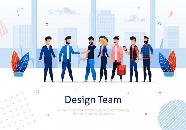 Zespół i kreskówka ludzie spotkanie i biznesmen, mężczyzna i kobieta