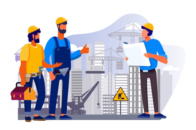 Zespół inżynierów omawiający problemy na budowie
