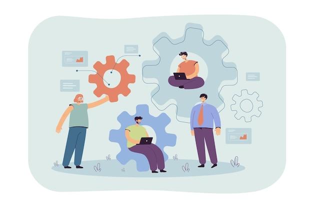 Zespół inżynierów pracujących razem nad mechanizmem, przy użyciu laptopa, rozmowie, siedzeniu na zębatkach, pisaniu kodów. ilustracja kreskówka
