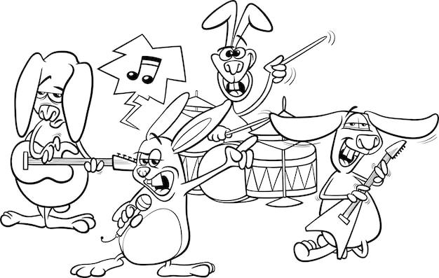 Zespół kolorowanki króliki rock